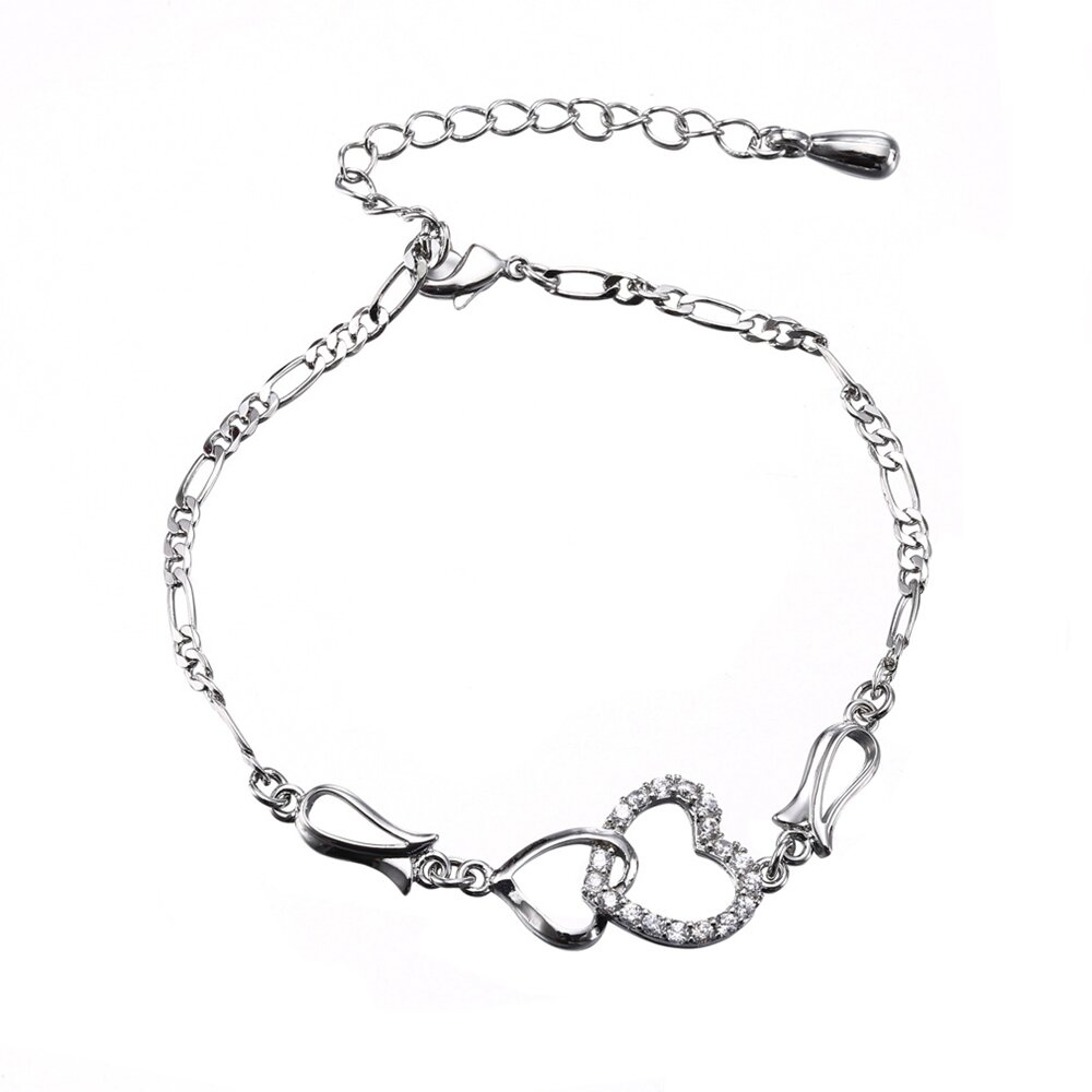 Fashion Anklet Accessories Double Zircon Hearts Copper Gold Plated Chain Anklets Jewelry for Women
