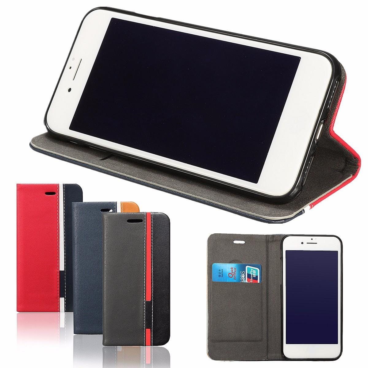 Multi-colors Flip Card Slots Soft PU Leather Stand Holder Cover Case for iPhone 7 4.7 Inch