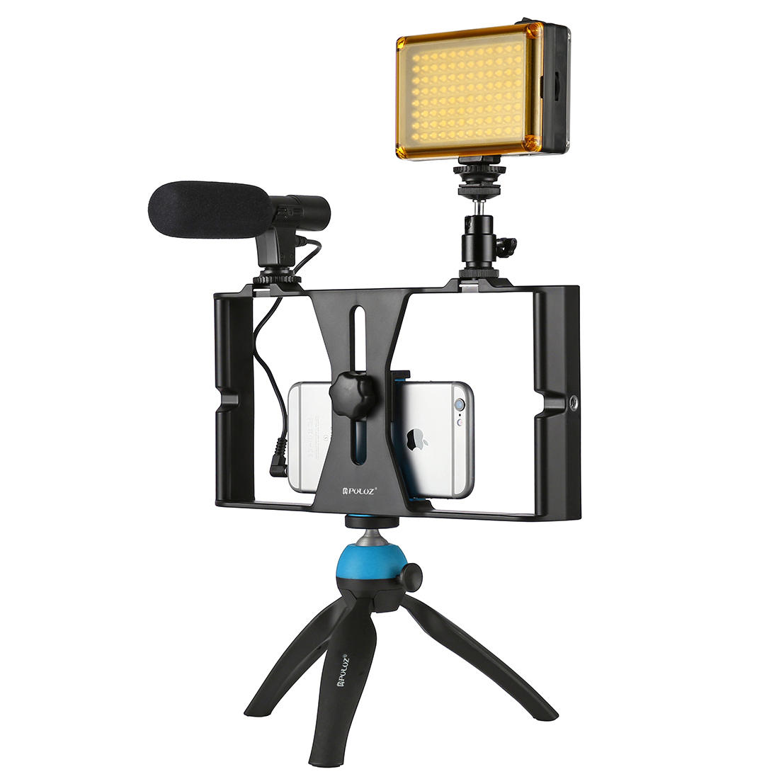 PULUZ PKT3023 Smartphone Video Rig LED Studio Licht Video Shotgun Mikrofon Mini Tripod Mount Kits mit Cold Shoe Stativkopf für iPhone Galaxy Huawei Xiaomi für HTC für LG für Google Smartphones
