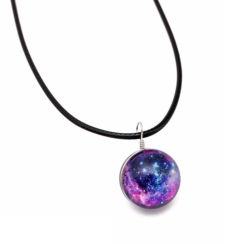 Couro Colorido Vintage Corda Galaxy Planet Star Glass Ball Pingente Colar Mulher
