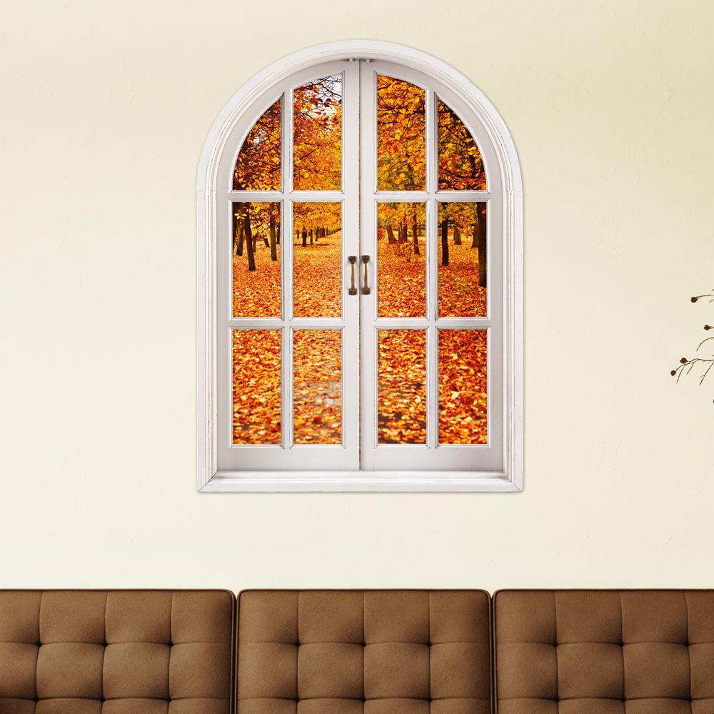 Folhas de outono 3d artificial janela de visualização 3D quarto adesivos de parede pag adesivos de parede presente para casa decoração