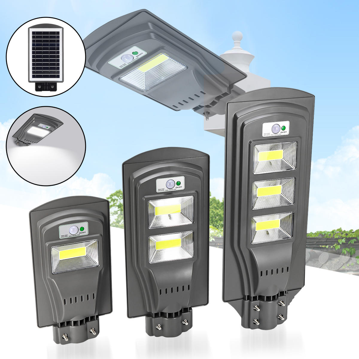 20W 40W 60W Movido a energia solar PIR Movimento Sensor Street Lamp Outdoor Garden Yard Light