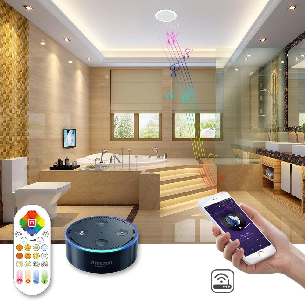 ARILUX® 24 W RGBCCT Wifi remoto Controle de Voz Bluetooth Alto-falante LED Suporte de Teto Para Baixo de Luz