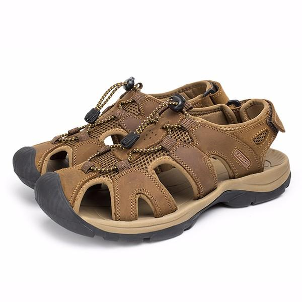 US Size 6.5-10.5 Mens Summer Beach Sandals Magic Stick Adjustment Leather Shoes