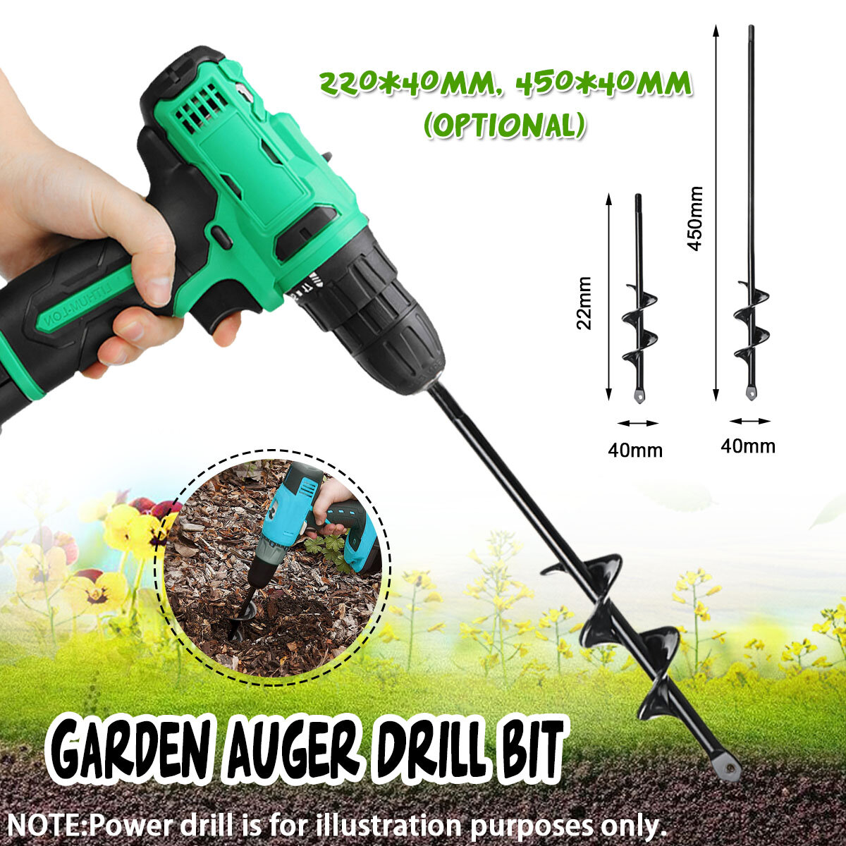 4x22/4x45cm Garden Auger Small Earth Planter Drill Bit Post Hole Digger Earth Planting Auger Drill Bit for Electric Drill