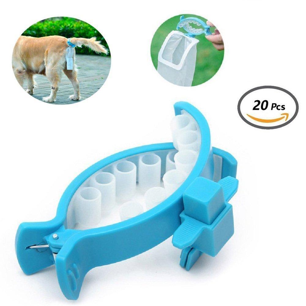 Dog Poop Soft Silicone Portarotolo per mani senza animali Contenitore per feci con 20 pezzi Borse taglia M / L
