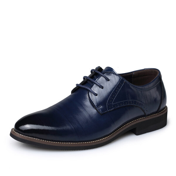 Men Lace Up Leather Shoes Formal Pointed Toe Business Shoes