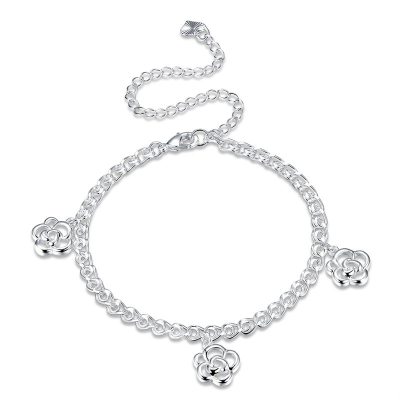 Simple Hollow Flower Pendant Silver Plated Adjustable Anklet