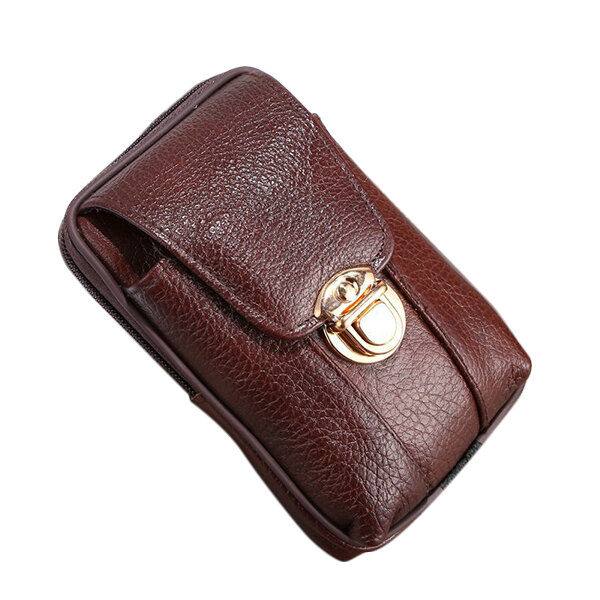 5.5 inches Men Genuine Leather Vintage Waist Bag Leisure Business Fanny Pack Cell Phone Bag