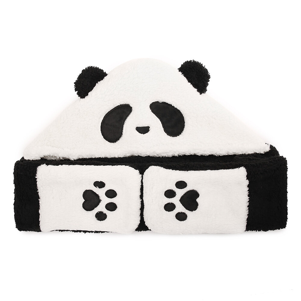 Unisex Lamb Plush 1-piece Cute Panda Gloves Pockets Scarf Hat Warm Thick Multipurpose Fashion Hat