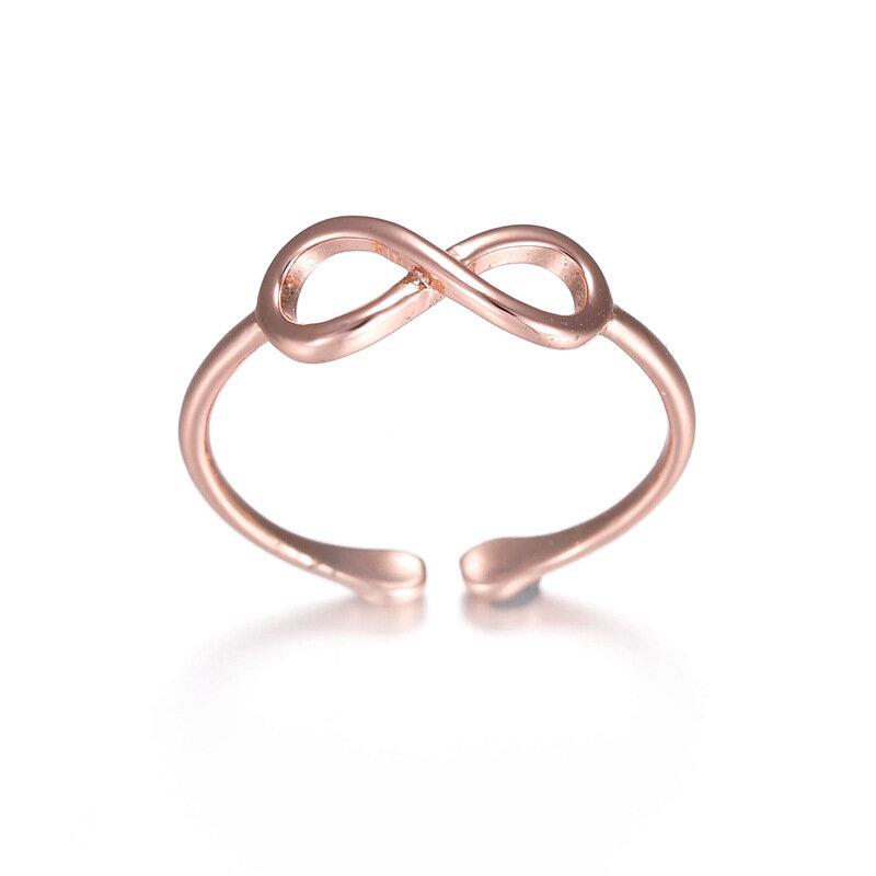 Classic Infinity結婚指輪ローズゴールドシルバーリングシンプルなカジュアルウエア女性のためのファッションオープンリング