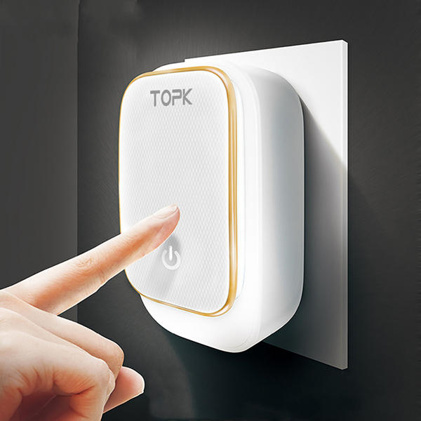 TOPK 3.4A 3 Ports Auto-ID USB Travel Wall Charger Adapter With Touch LED Lamp US UK AU EU Plug