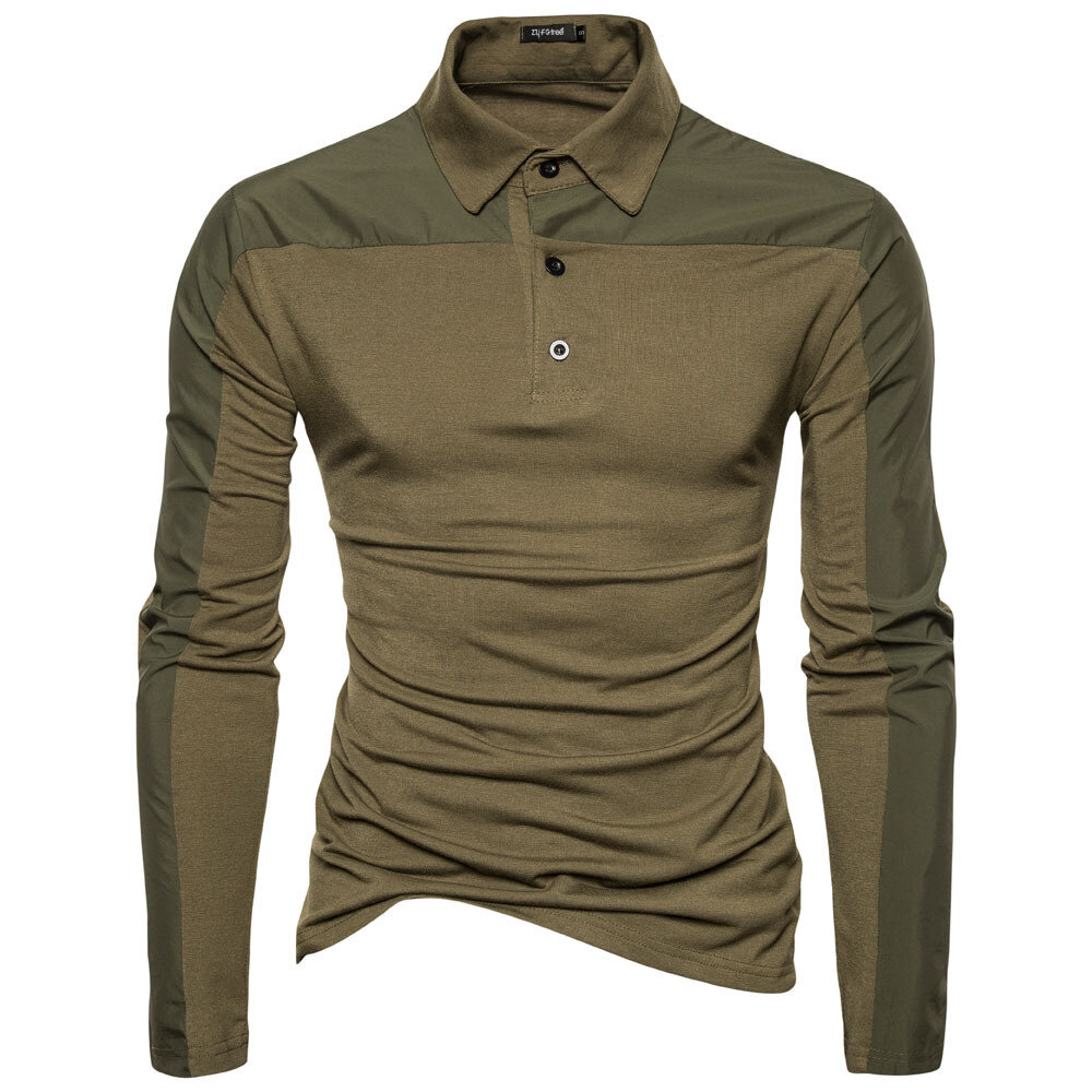 Spring Men Cotton Solid Color Long Sleeve Golf Shirts Multi-color Fall Leisure T-shirts
