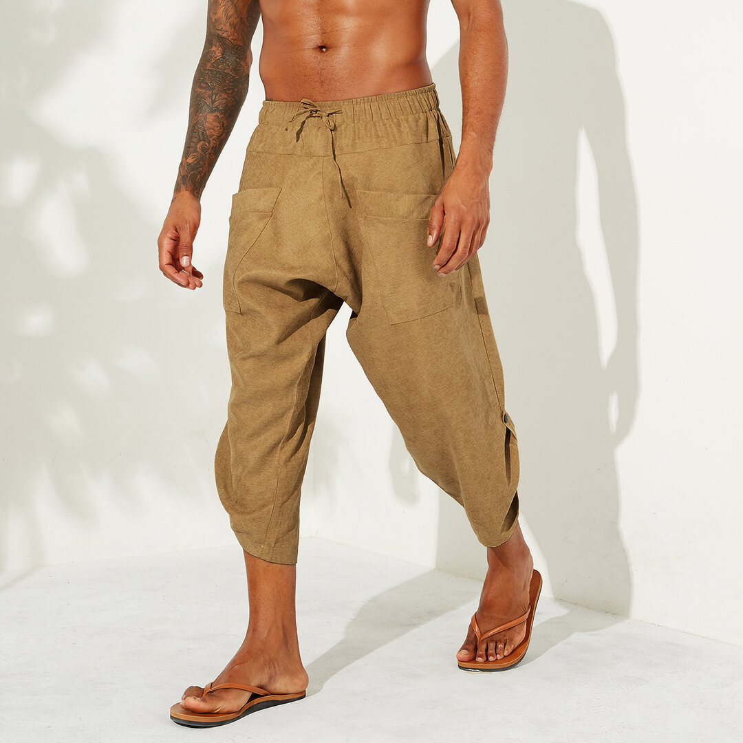 Mens Summer Solid Color Casual Corduroy Pants
