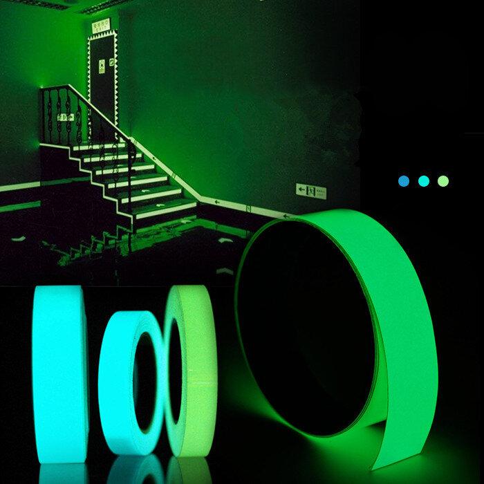 5mx15mm lichtgevende tape zelfklevend groen blauw gloeiend in het donker veiligheidsstage huis decor