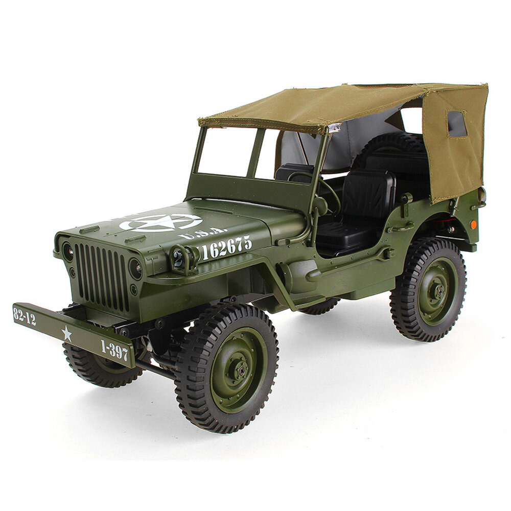 JJRC Q65 2.4G 1/10 Jedi Proportional Control Crawler Military Truck 4WD Off-Road RC Car With Canopy LED Light