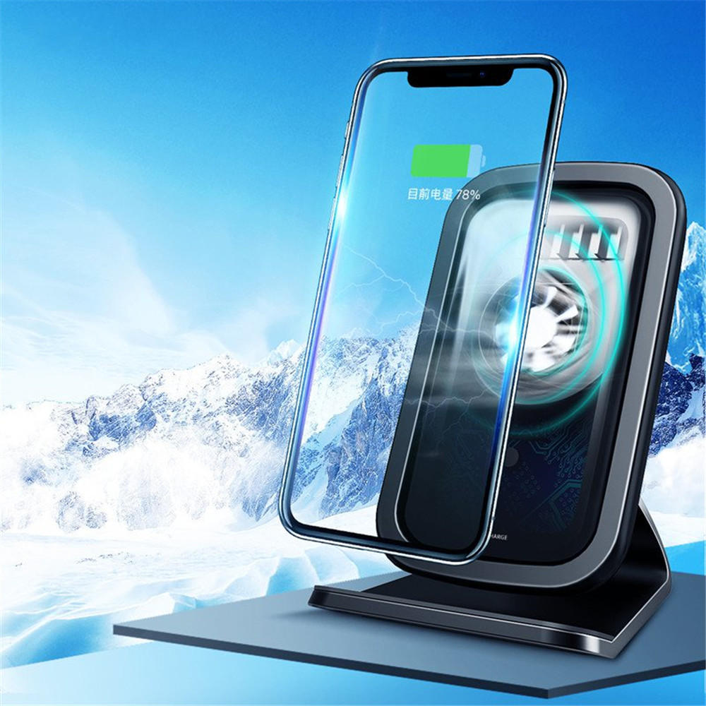 Rock 7.5W 10W Qi Wireless Fast Charge Cooling Fan Anti-slip Desktop Holder Stand for Mobile Phone