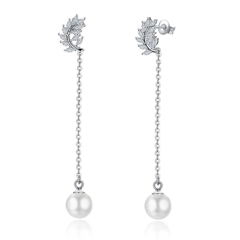 925 Sterling Silver Earrings Zircon Leaf Pearl Tassel Dangle Earring for Women