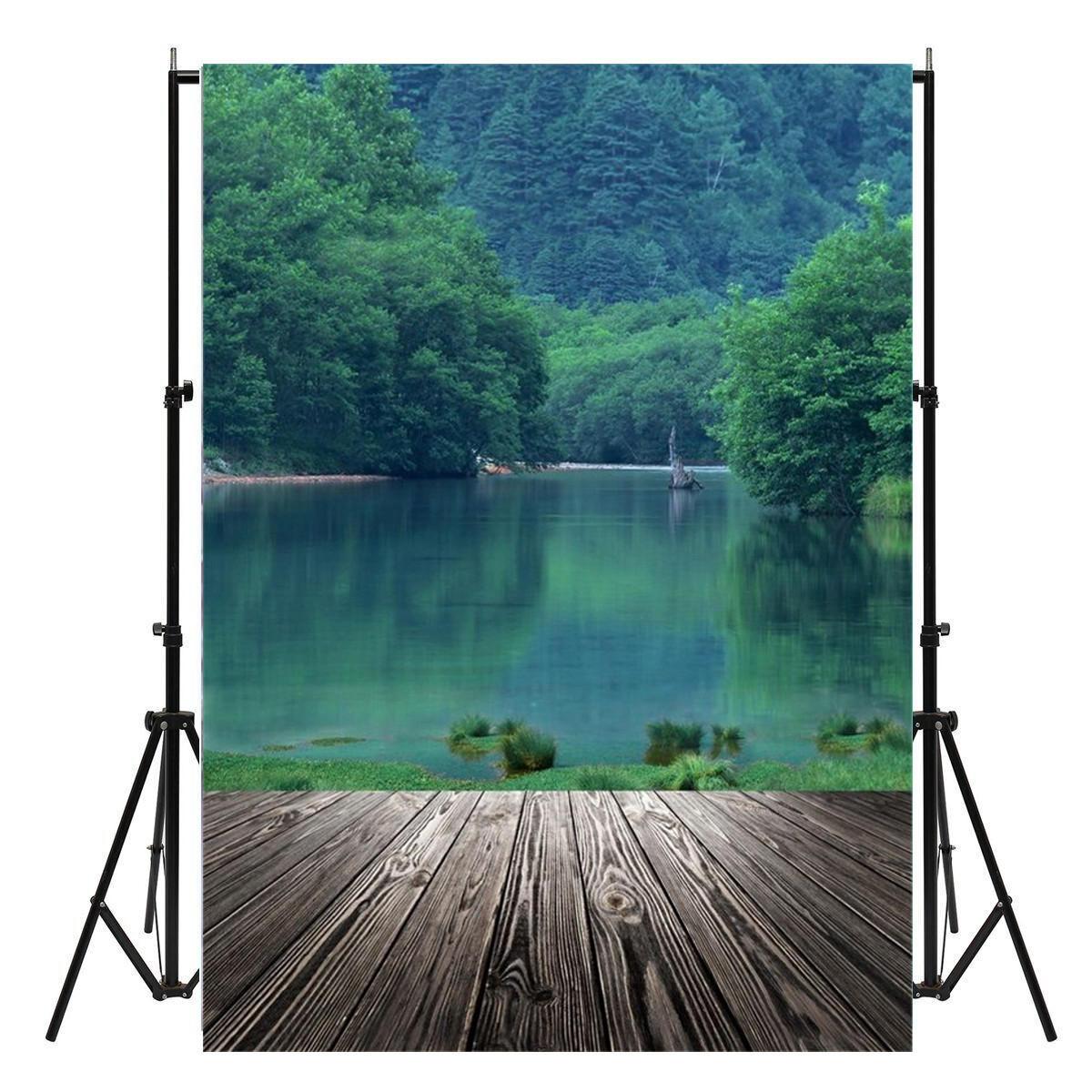 150x210cm Lago Parede de madeira Fotografia Fundo Studio Foto Prop Decoração de pano de fundo
