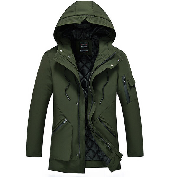 Mens Multi-Pocket-Mid-lange dicke warme Kapuze Pure Color Jacket Casual Coat