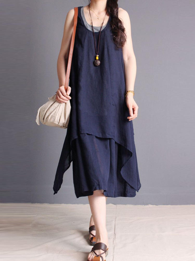 Women Layered Sleeveless Pure Color Irregular Dress
