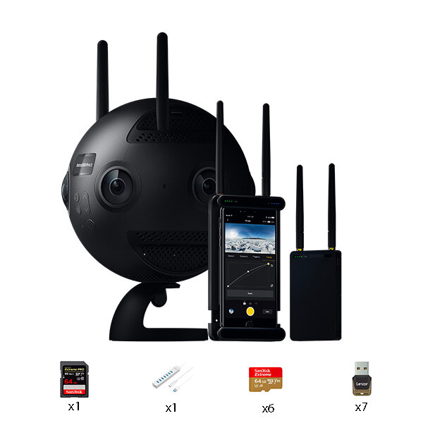Insta360 PRO 2 Farsight Professional 360 8K 3D Sport Camera with 7 Memory Cards and Readers Data Hub