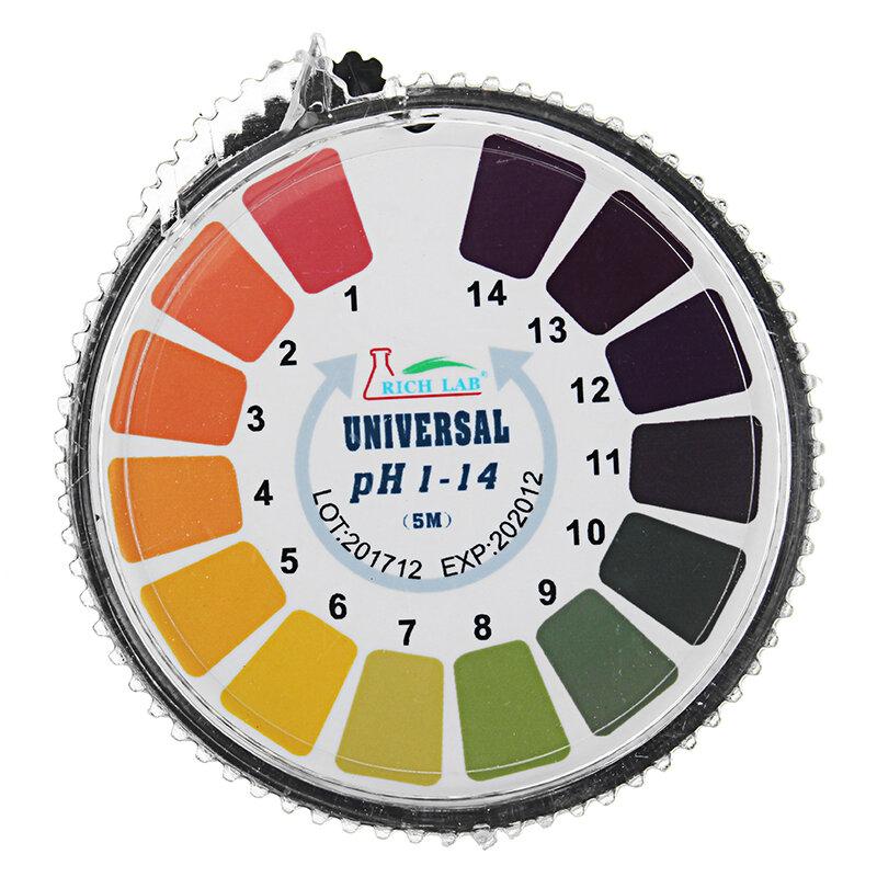 Universal PH Test Strips Roll Full Range 1-14 Indicator Paper Tester Dispenser Color Chart 5m/16.4 ft