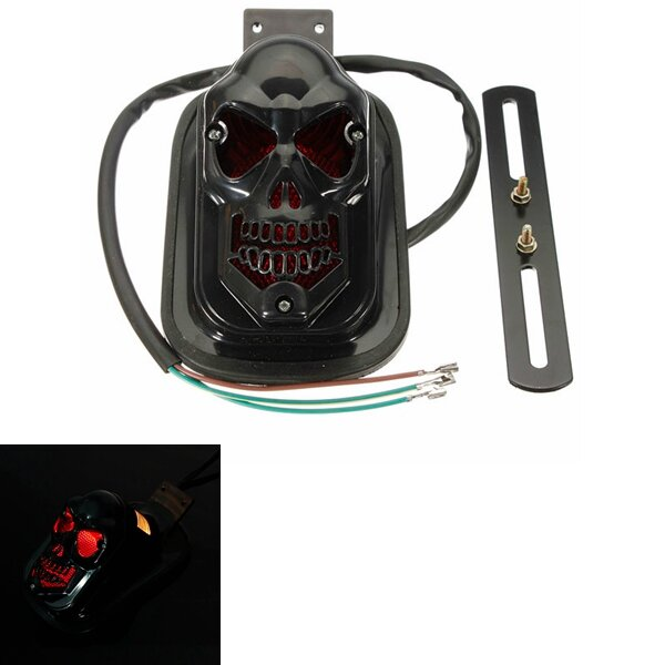12V 20W Motorcycle Quad ATV Rear Black Skull Brake Tail Light