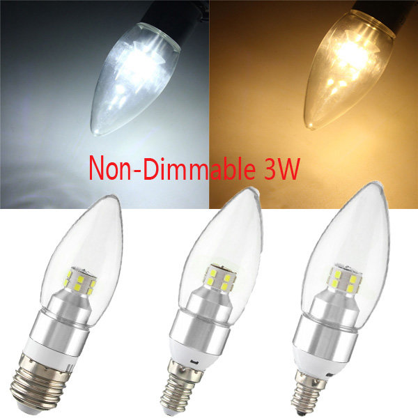 E12/E14/E27 3W Non-Dimmable LED Candle Silver Light Bulb White/Warm White 85-265V