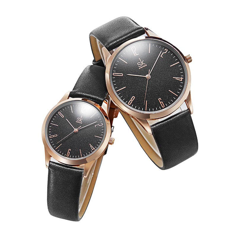 SHENGKE SK K9003 Couple Leather Simple Dial Elegant Ultra-thin Case Men Women Quartz Watch