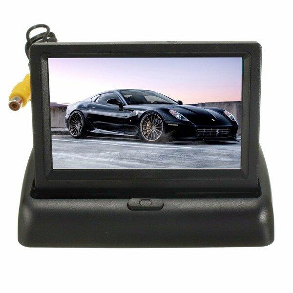 カーワイヤレスIRリアビューバックアップカメラキット折り畳み式LCD 4.3インチモニター