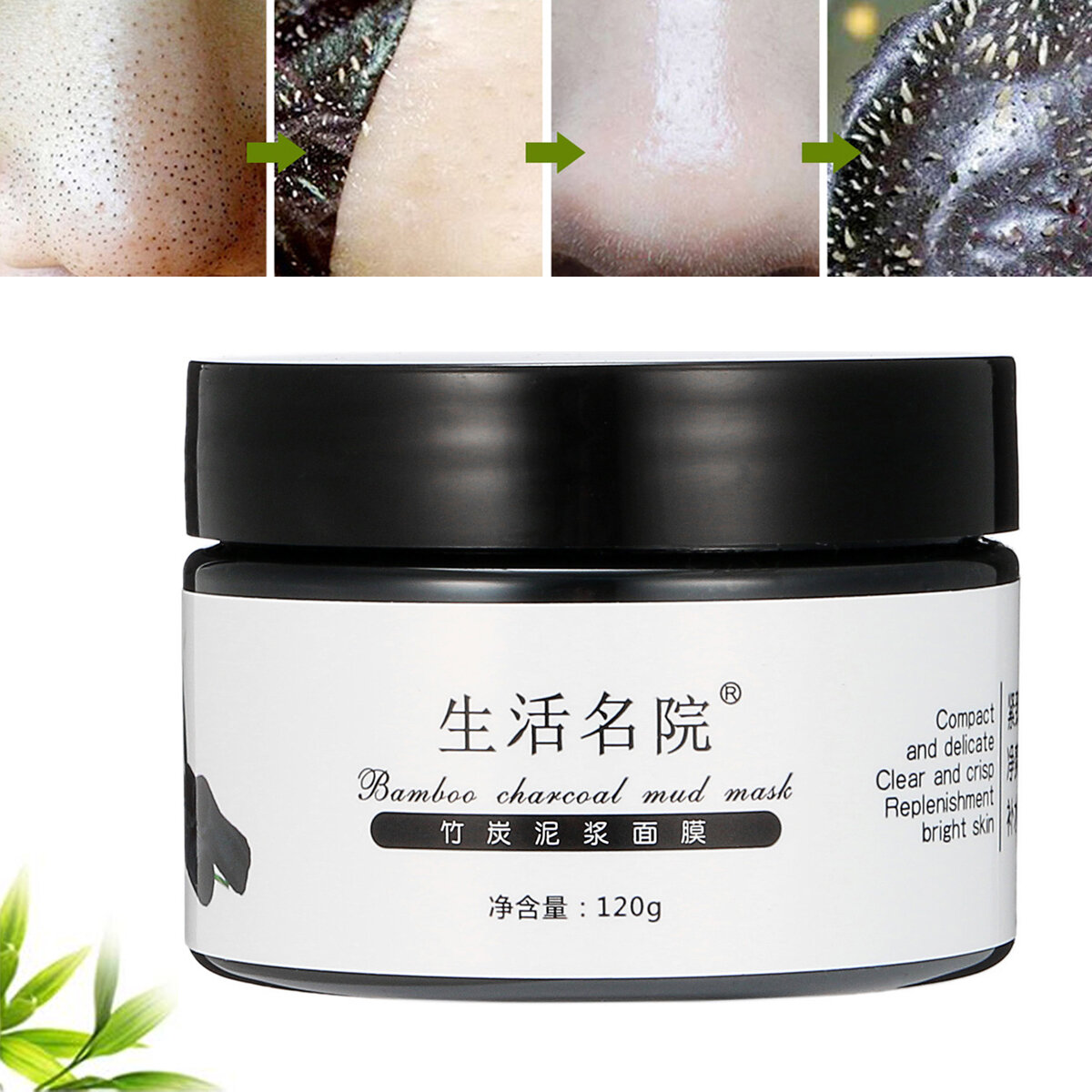 Black Bamboo Charcoal Comedondrukker Peel Off Mask zuiverende Moist Smooth Deep Cleansing