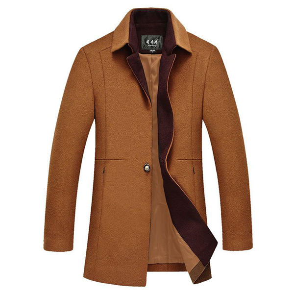 Herren Woll Trenchcoat One Button Mid Lange Business Slim Fit Jacke