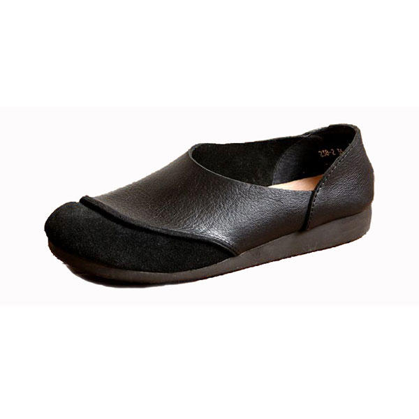 SOCOFY Soft Leather Slip On Pattern Match Casual Flat Shoes