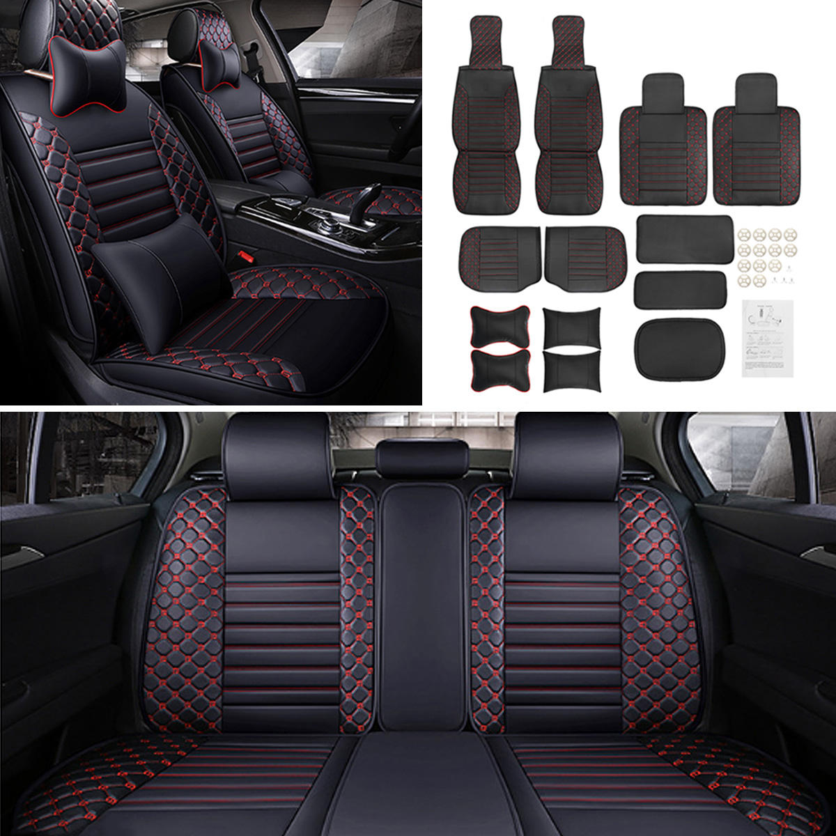 Washable Breathable 9 Part Red/&Black Color Car Seat Covers Protect Set Universal
