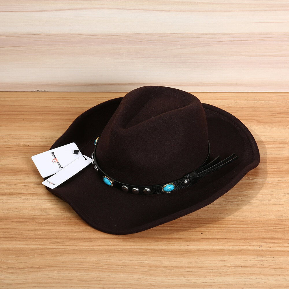 Bang good Mens Women Vintage Woolen Western Cowboy Hat Wide Brim Cowgirl Jazz Cap Horse Riding Hat