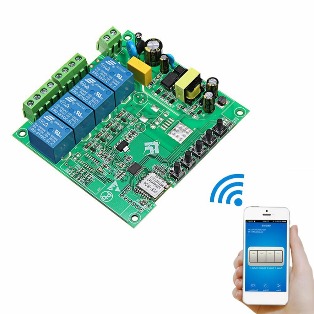 AC 220V 10A مراقبة ذكي Switch Point التحكم عن بعد Relay 4 Channel WiFi Module without Shell