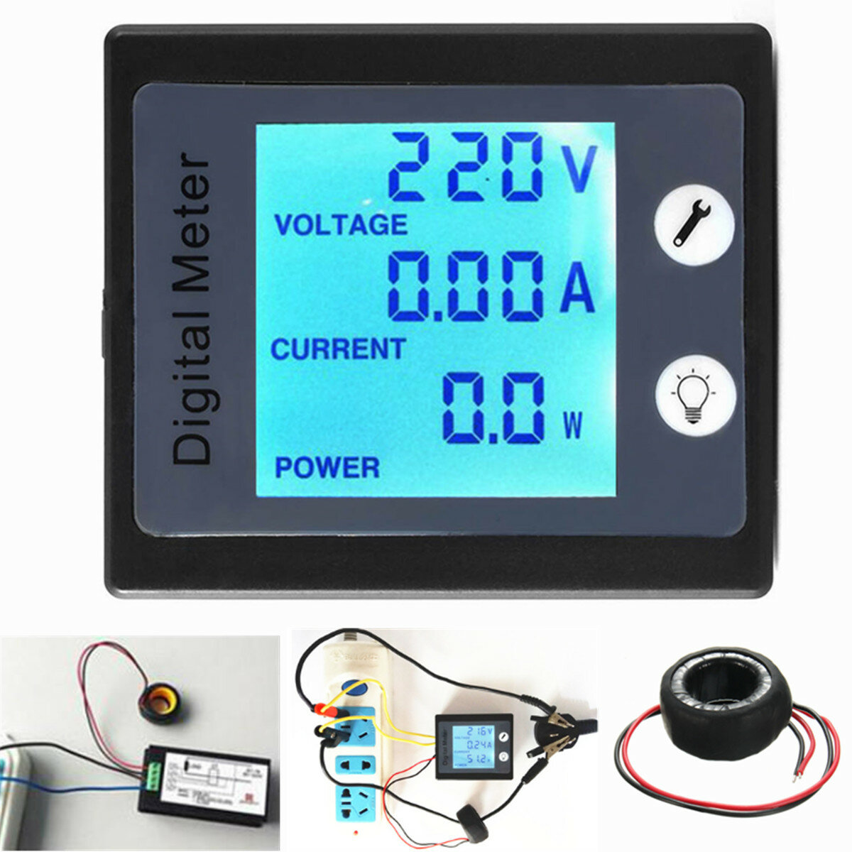 AC80V-260V 100A Digitale Power Energy Meter Voltage Tester Amperemeter Volt Meter Transformator