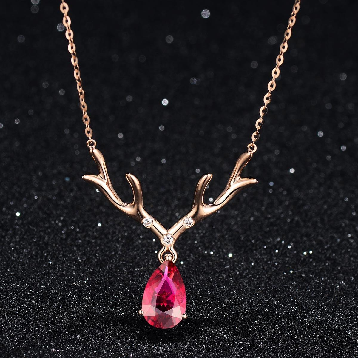 Sweet Style Deer Women Pendant Necklace Rose Gold Ruby Gold Plated Necklace