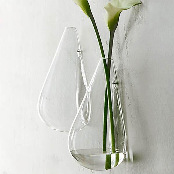Настенный капли воды форма стеклянная ваза сада hydroponice растения цветочный горшок