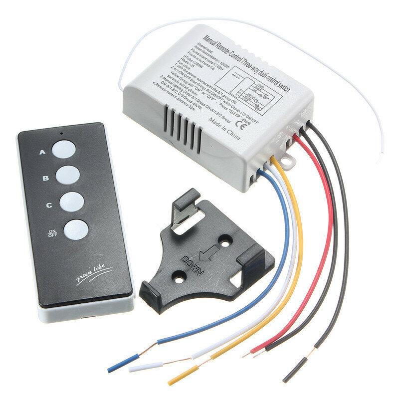 220v inalámbrico en el transmisor receptor interruptor de control remoto luz de la lámpara / apagado de 3 vías