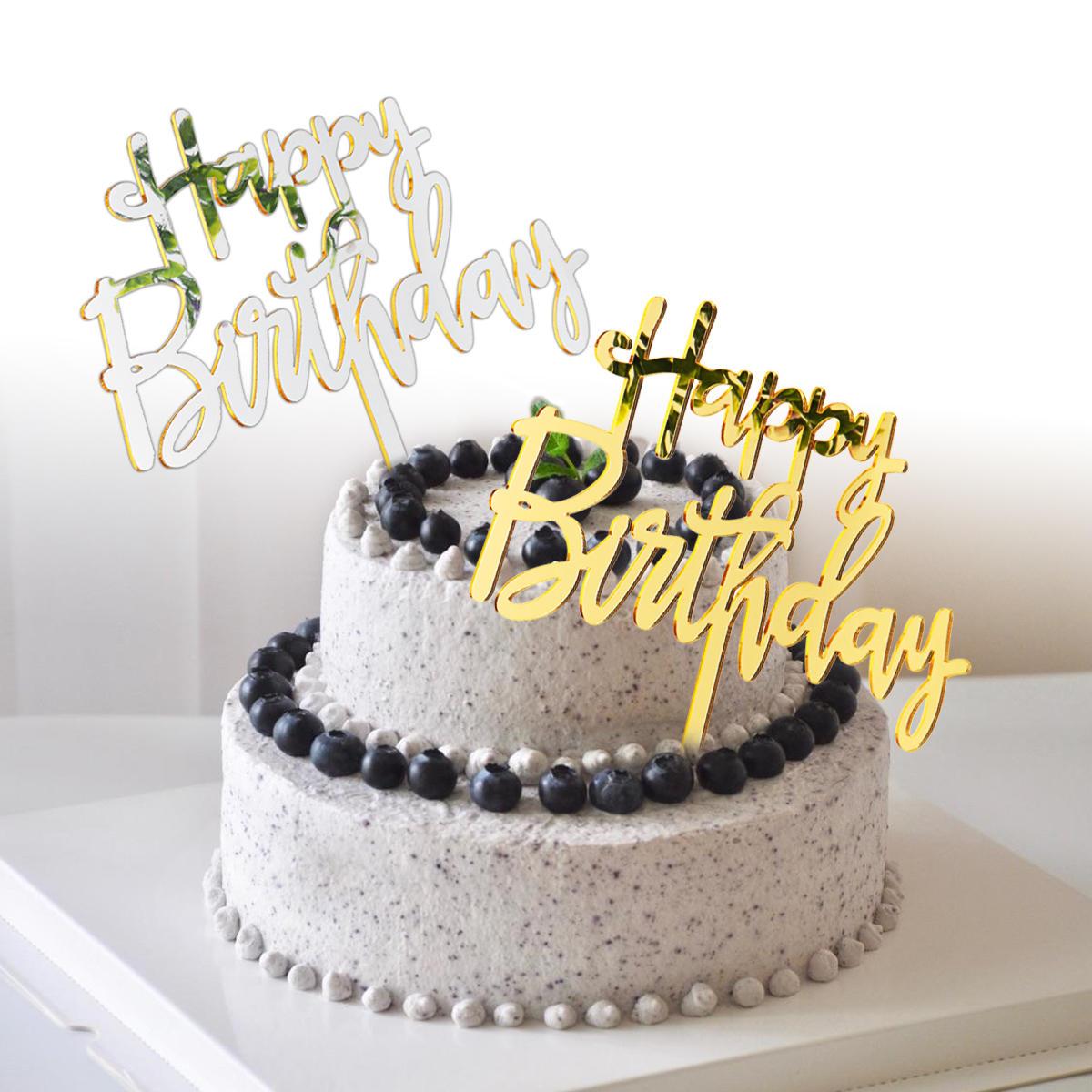 Miroir acrylique joyeux anniversaire décorations de gâteau d'anniversaire d'or et d'argent