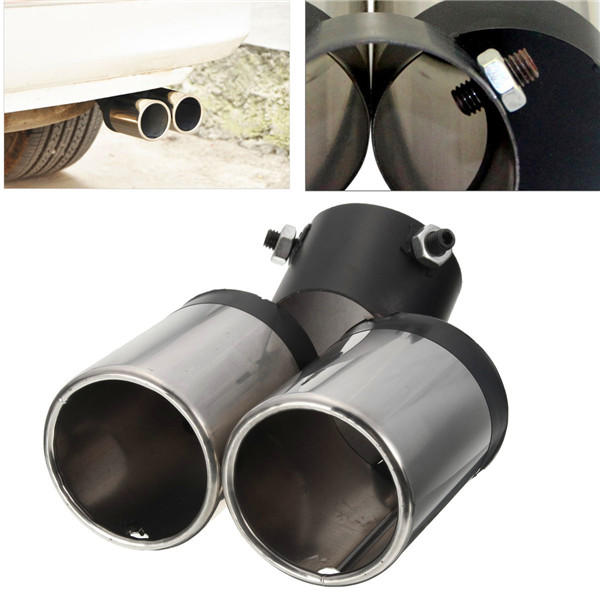 Universal Car Chrome Exhaust Muffler Tailpipe Dual Tip 48-58mm Stainless Steel