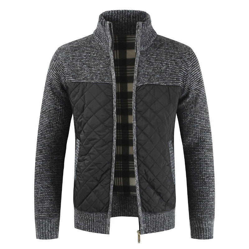 Mens Winter Casual Fleece Thick Stitching Knitted Coats Stand Collar Warm Jacket