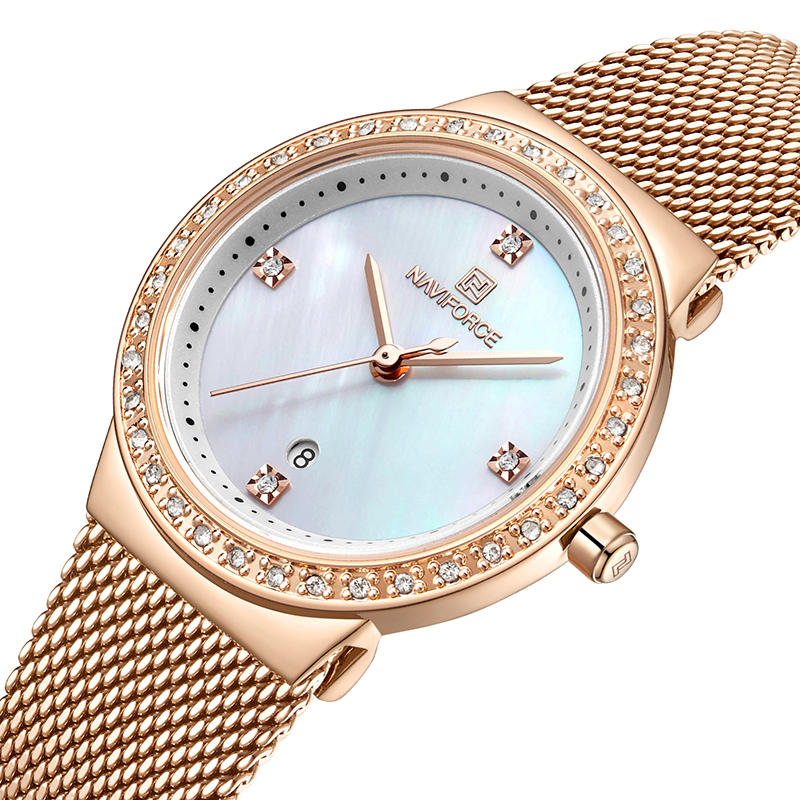 NAVIFORCE 5005 Crystal Casual Style Ladies Wrist Watch ضد للماء غير القابل للصدأ Steel حزام Quartz Watch