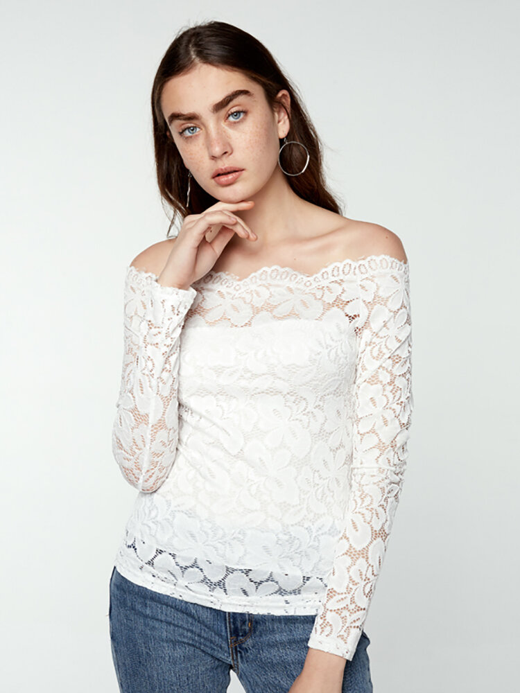Sexy Women Solid Color Lace Sheer Off Shoulder Blouse