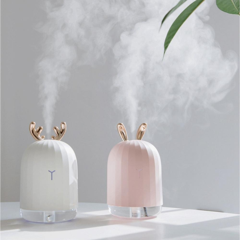 Cute White Deer / Pink Rabbit 220ML Humidifier Air Purifier USB Colorful Light for Home Office Car