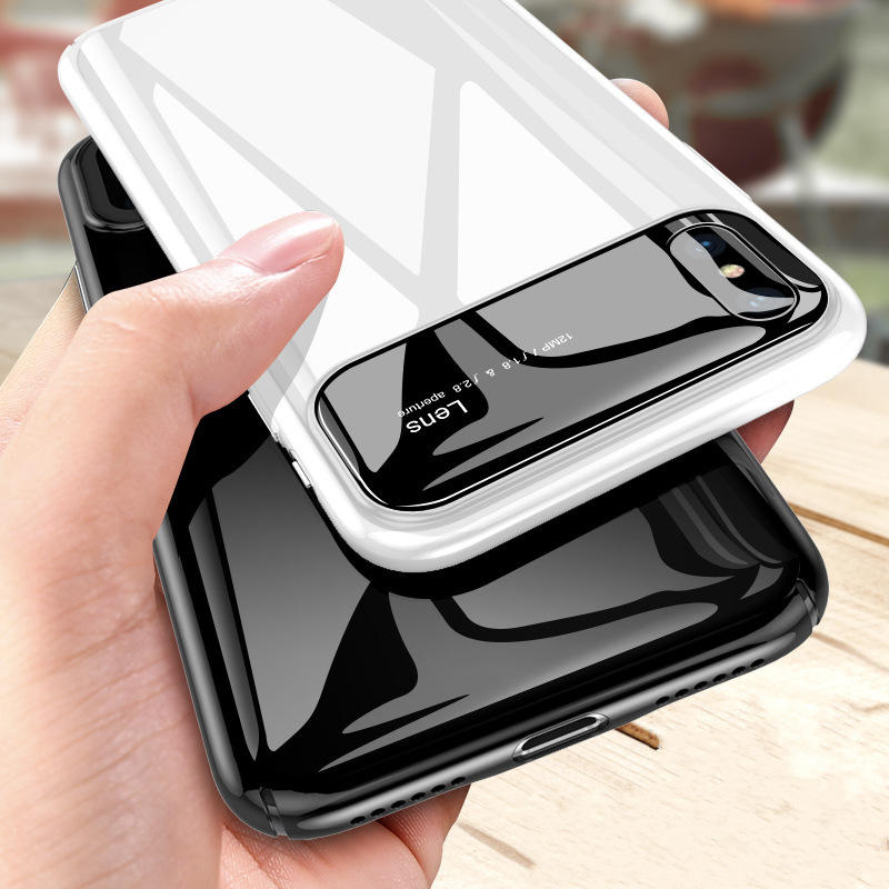 """Bakeey Protective Case for iPhone XS Max 6.5"""" Tempered Glass Lens Protection+PC Glossy Back Cover"""