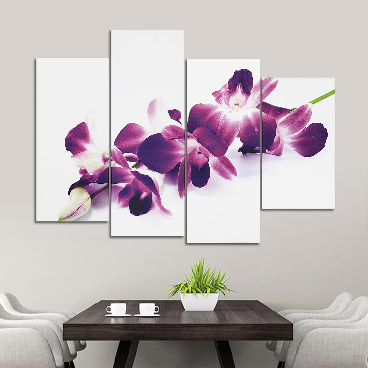 4 Pcs Orquídeas Roxas Ameixa Floral Canvas Pictue Impressão de Parede Dividir Pinturas de Arte Decoração de Casa