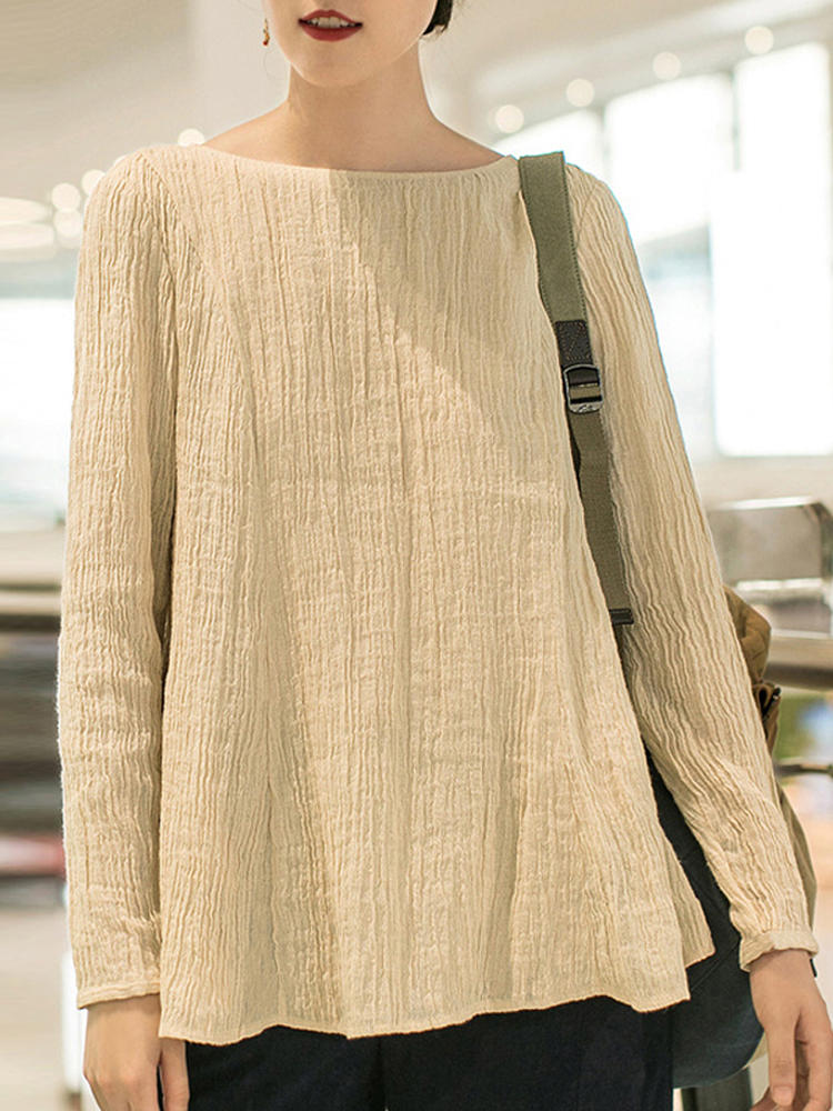 Women Casual Crew Neck Long Sleeve Solid Blouse